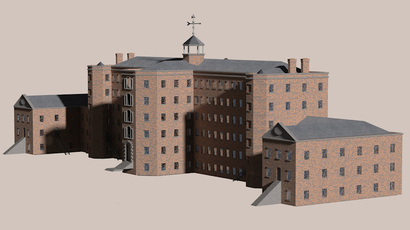 CGI model of Mellor Mill created by Julian Baum of Take 27 in Chester