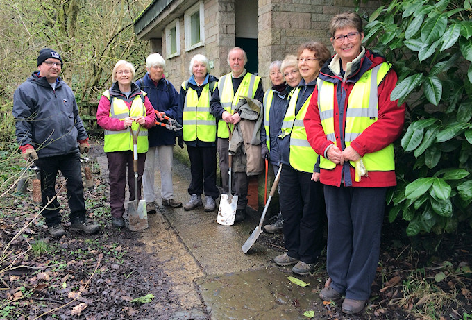 Volunteers after their triumphant campaign to save the toilets at Etherow Country Park
