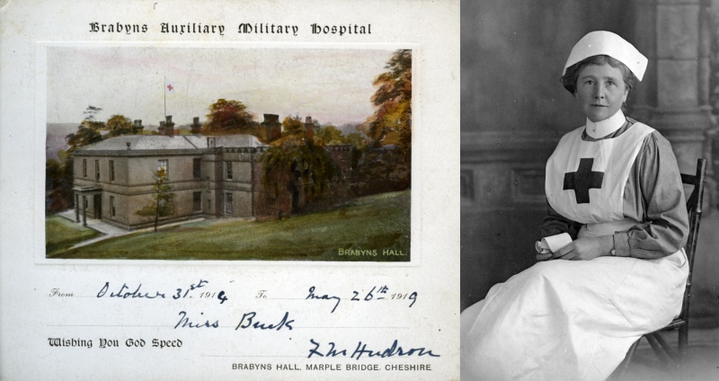 Nurse Flora Buck with her service card signed by Miss Hudson
