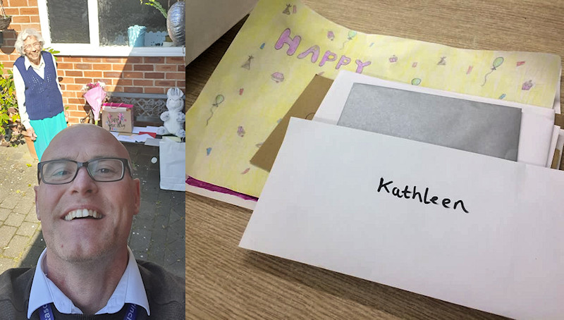 Asda manager Simon delivers Marjorie's (Kathleen's) 98th birthday cards