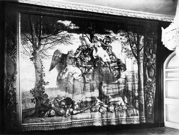 Winter tapestry in the Drawing Room of Marple Hall from the 1929 for the auction catalogue. Click for a larger view.