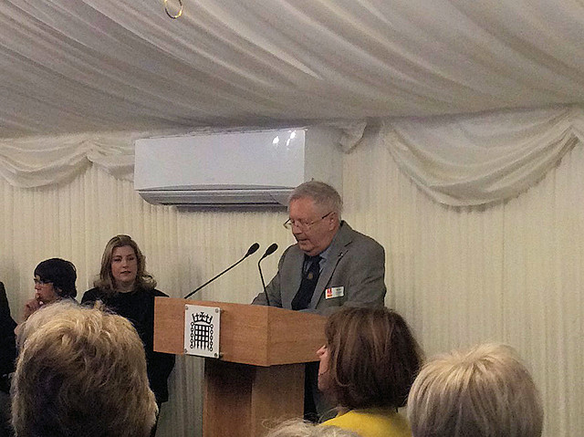 Mike Yates delivering his speech at the House of Commons