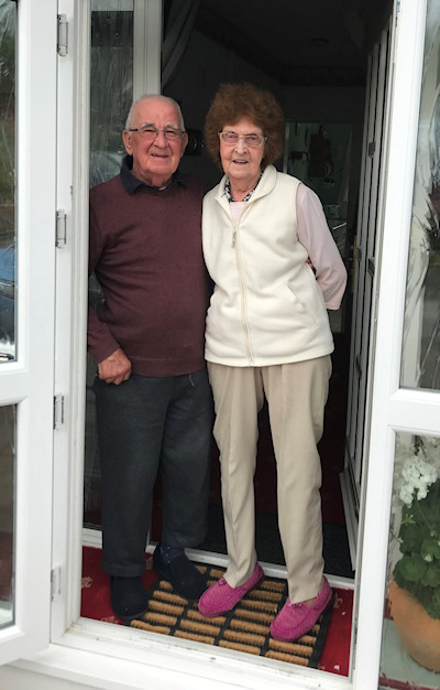 Mr and Mrs Haughton of Woodville Drive, who benefitted from the 1,000th 'job' completed by Marple Mutual Aid - a shopping trip undertaken by volunteer Steve King