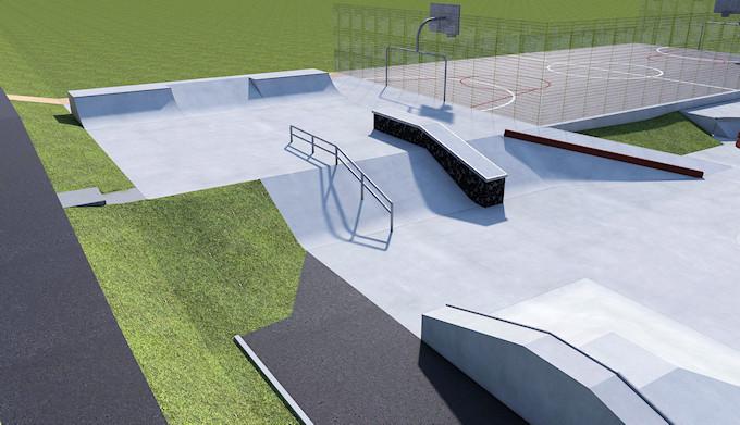 Marple Skatepark Phase II - Top section and MUGA