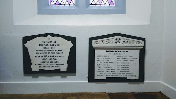 New home for the Albert Schools plaques in the URC Church on Hibbert Lane