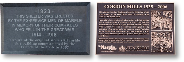 WWI Shelter and Gordon Mills Plaques