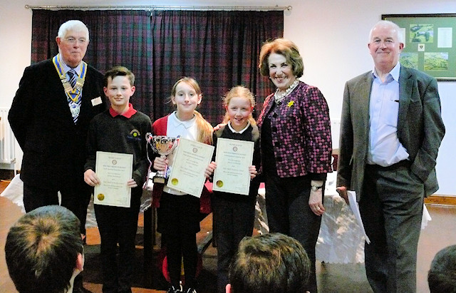 New Mills Primary School receive their awards from Edwina Currie